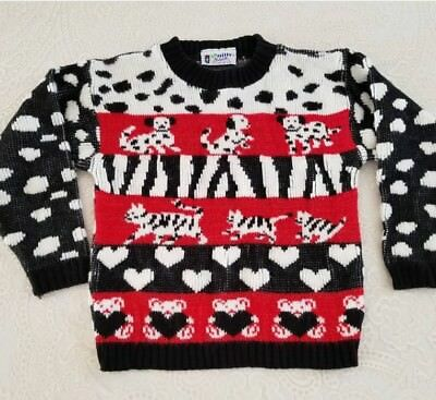 Vintage Girls Sweater Dalmatian Dogs Cats Fairy Kei Childrens Clothes Kawaii 80s