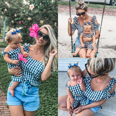 US Mother And Daughter Matched Plaid Women Blouse Toddler Baby Top Pants Clothes
