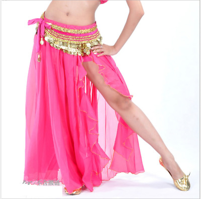 One Side Slit  with Gold Trims Long Skirt Chiffon Hip Skirt Belly Dance Costumes