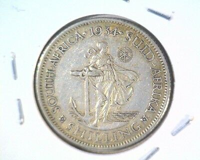 1934 South Africa Silver Shilling Coin KM#17.3 Very Fine .1456 ASW