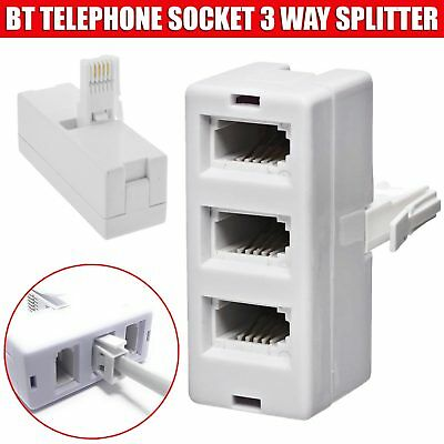 BT Telephone Phone Socket TRIPLE 3 way Adapter Splitter New UK Stock