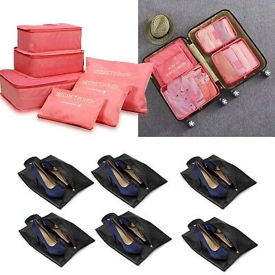 6Pcs Packing Cube Travel Luggage Organizer Zipper Clothes Storage Watermelon Red
