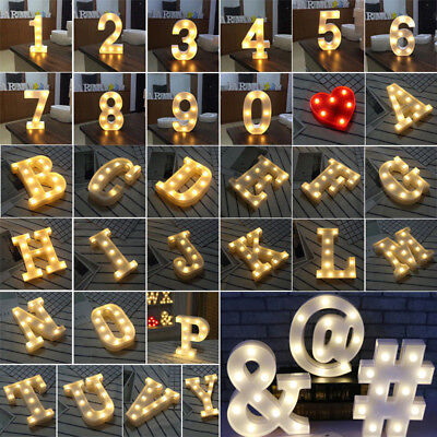 A - Z Plastic Alphabet Letter Led Light Up White Letters Standing 0-9 Numbers