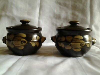 Vintage Denby lidded individual soup tureens x2 'Bakewell'