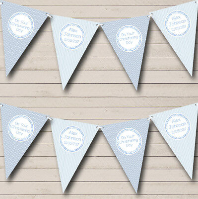 Boy Blue Stripes & Clouds Personalised Christening Baptism Bunting Party Banner
