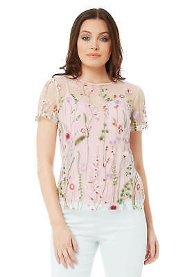 Roman Originals Women's Ivory Floral Embroidered Mesh Top Sizes 10-20