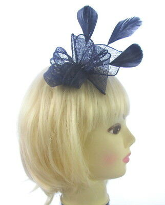 "Navy blue 6"" fascinator sinamay comb with black feathers, weddings, races prom"