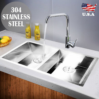 """Commercial 30""""x18"""" Stainless Steel Kitchen Sink Double Bowl Undermount 18 Gauge"""