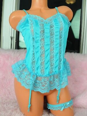 VTG Nan Flower Blue Nylon Sissy Frilly Lace Camisole Top Garter Set w Garters M