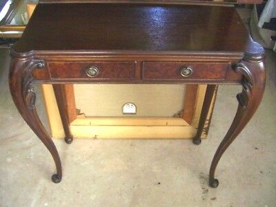 Antique Victorian mahogany console side table / Hallway desk with 2 x drawers