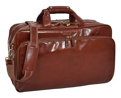Real Leather Expandable Holdall Multipurpose Suit Carrier Travel Bag Cognac