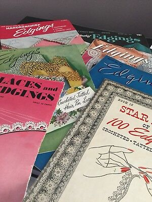 Vtg Lot 7 Edgings Lace Tatting Crocheted Handkerchief Hairpin Lace Book Magazine