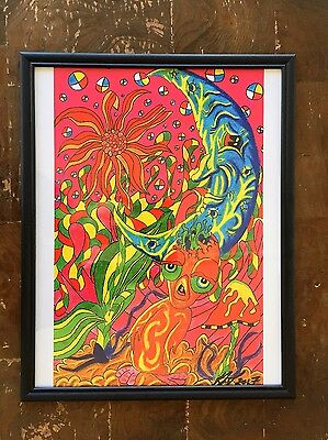 Psychedelic Framed Print Art Poster Home Decor Blue Moon Bright Colorful Wallart