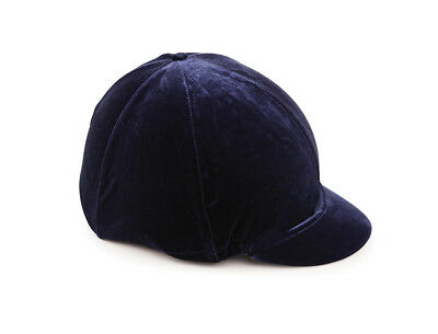 Shires Velveteen Velvet Skull Cap Cover Silk Riding Hat Cover navy black brown