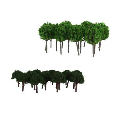 100Pcs Painted Scale Model Railroad Trees Scenery Landscape Accessories DIY