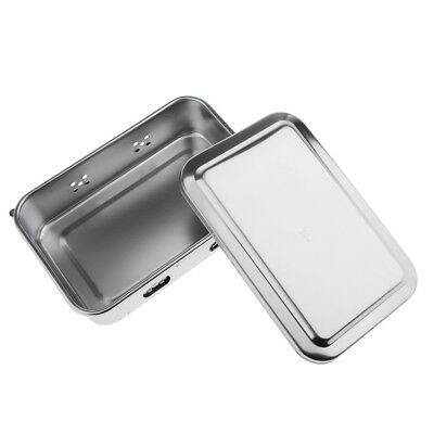 """Stainless Steel Instrument Holder Tray W/ Lid Medical Dental Tattoo Tool 6"""""""