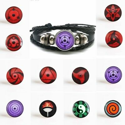 Anime Rinnegan Eyes Bracelet Naruto Sharingan Eye Black Leather Bracelet Uchiha