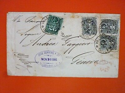 Chile 1881 Cover from Valparaiso to Italy multistamped - Interesting