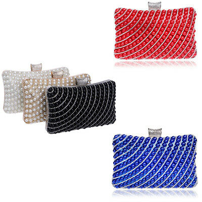 Wedding Clutch Bags Women Party Evening Bridal Prom Crystal Pearl Purse Handbag