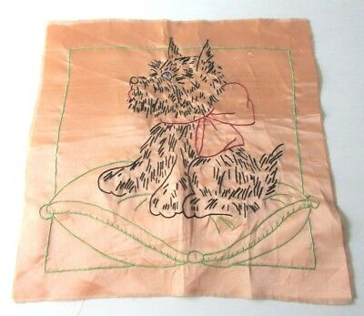 Vtg 1930s Pillow Top Peach Satin Embroidered Scottie Dog on Throw Pillow Cute!