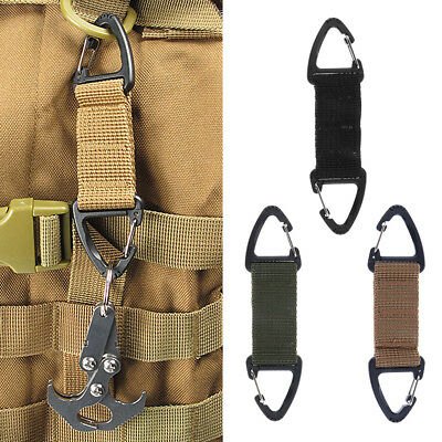 2pcs Black Outdoor Strong Webbing Double End Triangular Clip Spring Hook