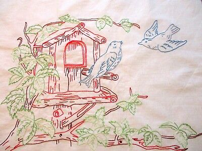 Vtg 1930s Embroidered Pillow Top Wall Hanging Birdhouse Bluebirds Of Happiness