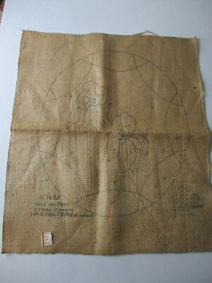 Vtg 20s Burlap Iris Mat or Footstool Seat Cover Pattern To Embroider Punch Work