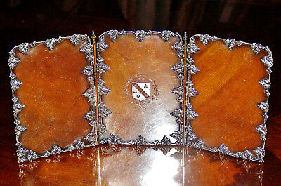 Rare Vintage/Antique Silver Plated Folding Counter, Vanity Display w/Crest