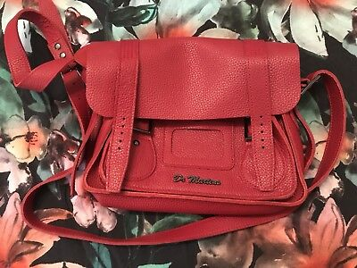 """Brand New Red Soft Leather Dr Martens Satchel 11"""" Never Used Aunt Sally SOLD OUT"""