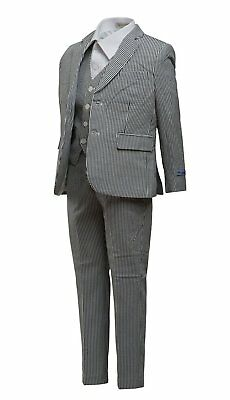 Art Hoffman Boy's Regular Fit 3-Piece Striped Linen Suit Set