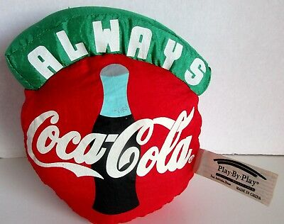 Vintage Always Coca Cola Plush Hanging Pillow Toy Stuffed Red 1993 Play by Play
