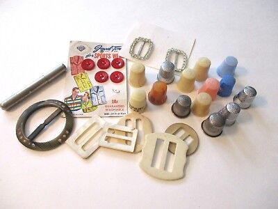 Vtg Sewing Mixed Lot Plastic Metal Thimbles Buckles Buttons Advertising