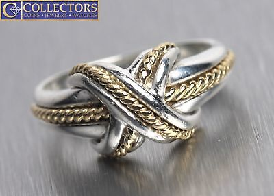 3b037dd21 Ladies Tiffany & Co. Signature X Crossover 925 Silver 18K Gold Two Tone Ring