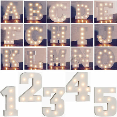 A - Z Wooden Alphabet Letter Led Light Up White Letters Standing 0-9 Numbers