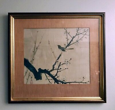 Framed Chinese Or Japanese Painting On Silk Antique Cherry Blossom Large 26x28