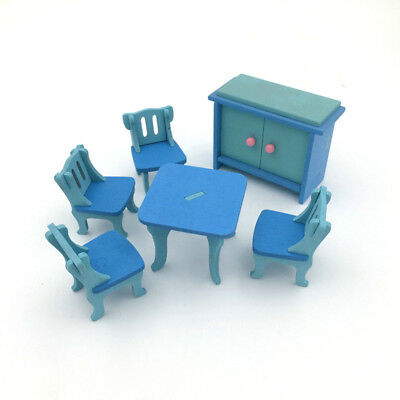 1 set/6pcs Baby Wooden Dollhouse Furniture Dolls House Miniature Child Play N4N7