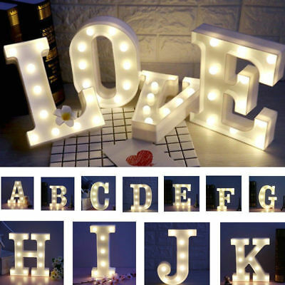 LED Light Up Alphabet Letter Lights White Plastic Letters Standing Hanging Sign