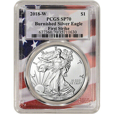 2018-W American Silver Eagle Burnished - PCGS SP70 - First Strike - Flag Core