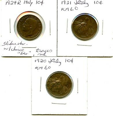 Lot of 4 1920 1921 1924 1932 Italy Bronze 10c Coins #103268 R