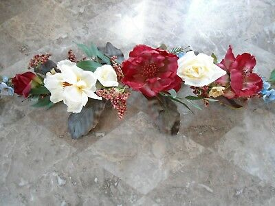 Home Interiors,Old Fashion Roses Ivory,Burgundy Swag 33""