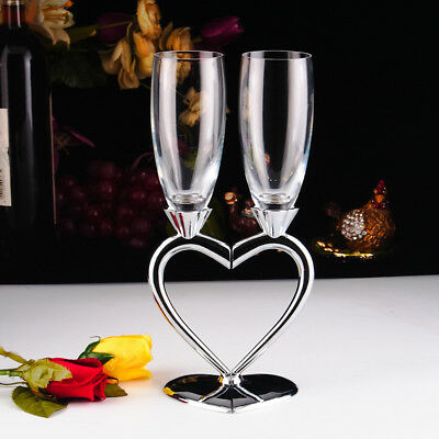 2PCS Heart-shape Wedding Toast Champagne Flute Tall Glasses Party Goblet Cup Bar