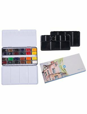 Watercolour Paint Field Sketch Paint Set 24 Full Pan Colors with Watercolour Tin