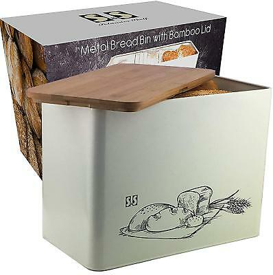 Bread Bin with Cutting Board Lid Eco Bamboo Large Vertical Bread Box