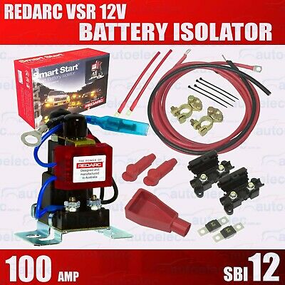 Redarc Sbi12Kit Complete Dual Battery System Package 12 Volt Isolator Batteries
