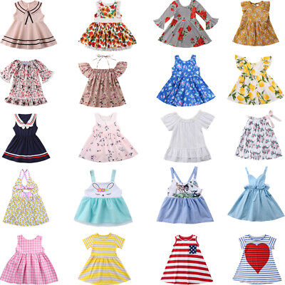 AU Casual Kids New Baby Girl Party Dress Lace Tutu Floral Dresses Clothes Summer