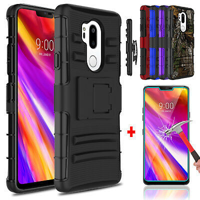 For LG G7 ThinQ Hybrid Belt Clip Holster Kickstand Phone Case + Screen Protector