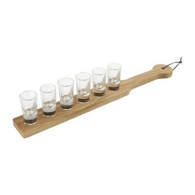 Wood Paddle Board With 12 Shot Glasses Olympia Bar Restaurant Holder Fits 6