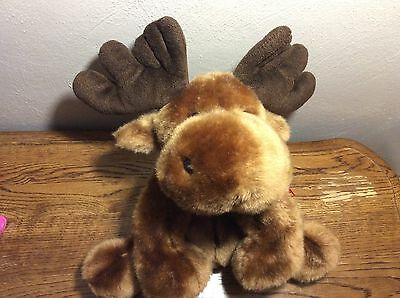 Vintage Brown Moose Reindeer SKM Enterprises Stuffed Animal Plush Red Bow Soft!