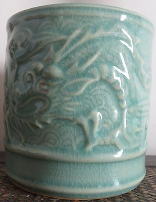 Chinese Celadon Brush Pot With Incised Dragon Decoration