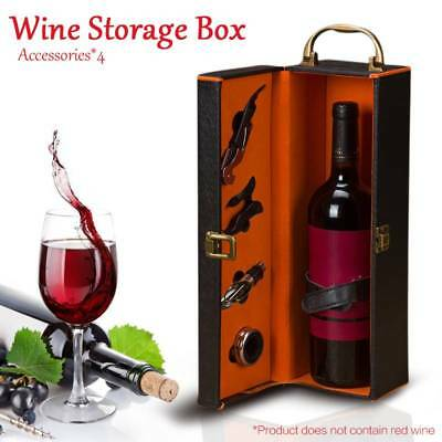 PU Leather Wine Bottle Storage Box Packing Container Carry Case + 4x Accessories